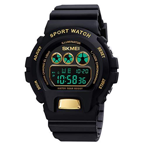 Reloj Digital, Reloj Digital para Hombres, Achort 50M Cronógrafo Impermeable para Exteriores Relojes Deportivos para Hombres con retroiluminación LED y Alarma Azul para Actividades al Aire Libre