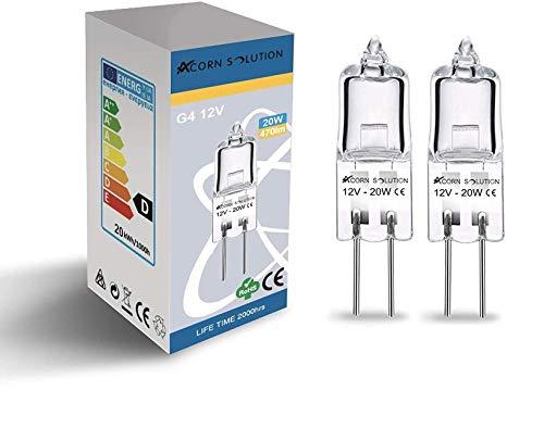 AcornSolution Halogen-Niedervoltlampe, G4-Sockel, dimmbar, 12 Volt, 20 Watt, Warmweiß - 2800K, 2er-Pack