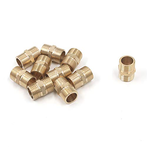 Tulead 10PCS Water Pipe Fitting Air Hose Adapter Threaded Nipple Brass Plumbing Fittings Pipe Connectors 1/2