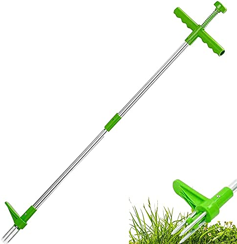 BLUEGALA Standing Weeder Root Tool, Weed Puller Tool Garden Manual Weeder 39 Inch Long Handle Weeding Tool with 3 Steel Claws and Foot Pedal (1pack)