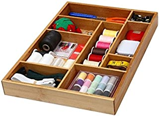 YBM HOME Bamboo Drawer Organizer with 9 Compartment Organization Tray for Sewing, Craft, Office, Bathroom and Kitchen, 337