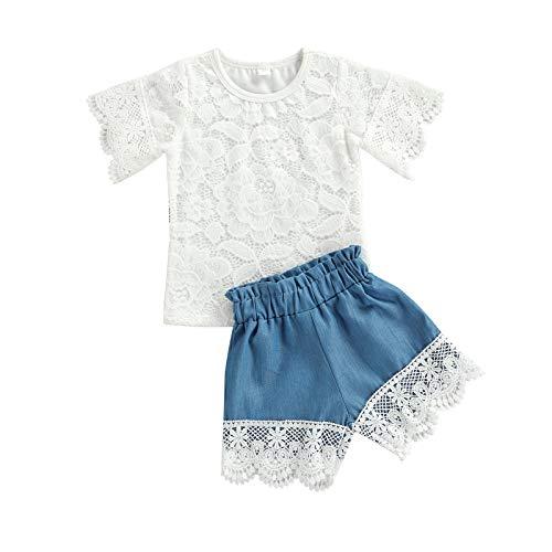 BemeyourBBs Conjunto corto de encaje de manga corta para bebés y niñas, pantalones cortos, 2 unidades