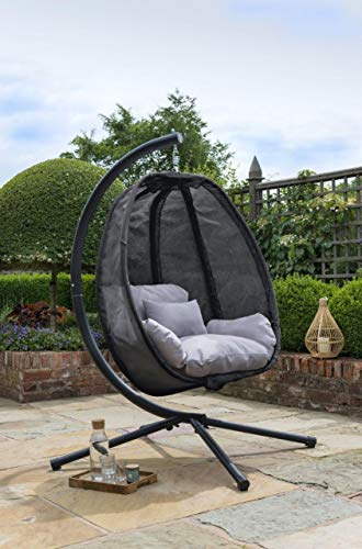 Cocoon Hanging Egg Chair Swing Textilene Garden Furniture In Or Outdoor Black With Grey Cushion