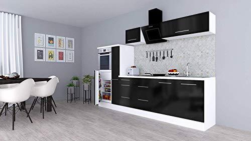 respekta Küchenzeile Küche Küchenblock Einbauküche Hochglanz 300 cm Weiß (Schwarz)