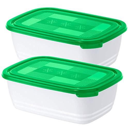 Rotho Freeze 2er-Set Tiefkühldosen 1.9 l, Kunststoff (BPA-frei), grün/weiss, 2 x 1,9 Liter (23,4 x 16 x 10 cm)