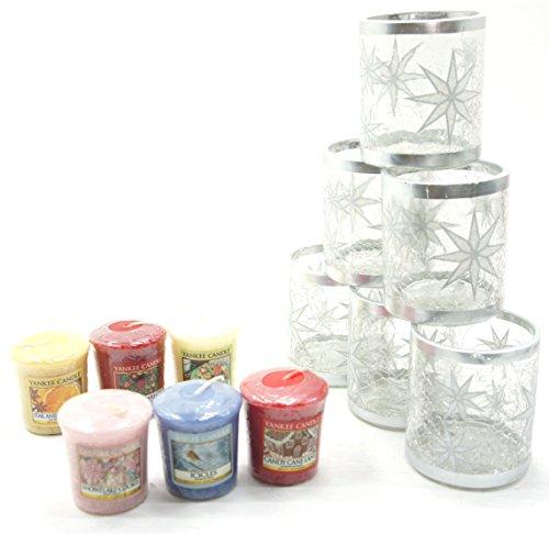 6x ufficiale Yankee Candle Arctic fiocco di neve natalizio smerigliato glitter portacandele in vetro + 6assortiti Natale fragranza campionatori