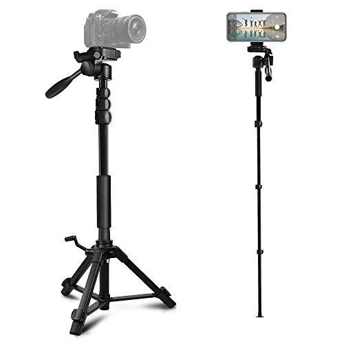 三脚 スマホ用 ビデオカメラ三脚 一脚可変式 クイックシュー式 カメラ 三脚 一脚 自立 水準器付き 3Way自由雲台 カメラ スマホ用 軽量 コンパクト 1780mm