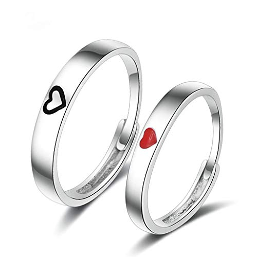 Beydodo Sterling Silber Ringe Damen Rot Herz Trauring Freundschaft Ring Silber (Preis für 1 Pcs)
