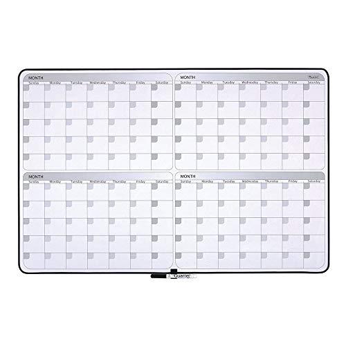 "Quartet Whiteboard Planner, 4-Month Planning White Board, 23"" x 35"" Dry Erase Board, Black Frame (05149SV)"
