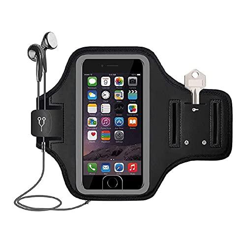 Soporte para teléfono móvil Brazalete para correr, gimnasio, tela negra, compatible con iPhone 6plus 7plus 8plus 5.5 pulgadas