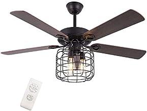 Plafondventilator met verlichting en afstandsbediening, stil, retrostijl, houten omkeerbaar, voor slaapkamer, eetkamer, wo...