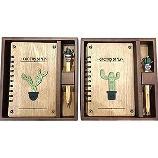 PrutX Interesting School Supplies Gift 2 Pcs/Set Retro Cactus Wood Notebook Pen Set School Supplies 64K