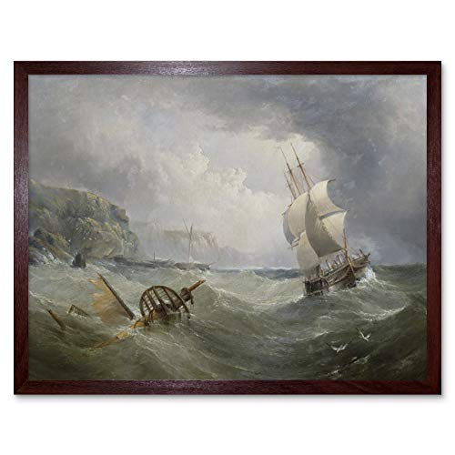 Redmore Shipping Off The Coast In Stormy Sea Painting Art Print Framed Poster Wall Decor 12x16 inch Schiff K�ste Gem�lde Wand Deko