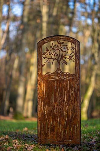 EllasDekokrempel Edelrost Sichtschutz Tür mit Baum zum Einstecken 180cm x 80cm