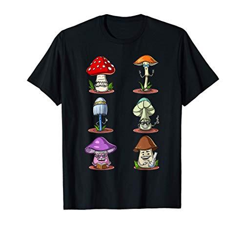 Setas Mágicas Setas Psilocibina Psicodélico Micología Hippie Camiseta