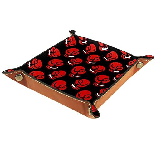 Faltbare Würfelspiele Tablett Leder Quadratische Schmuckschalen und Uhr, Schlüssel, Münze, Süßigkeiten Aufbewahrungsbox Rote Boxhandschuhe Muster Schwarz