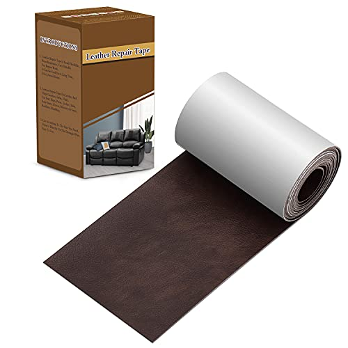 Leather Tape 3X60 Inch Self-Adhesive Leather Repair Patch for Sofas, Couch, Furniture, Drivers Seat(Dark Brown)