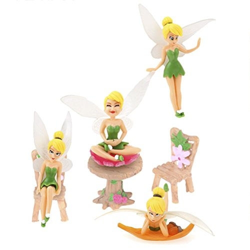 Diyiming Fairy Garden Accessories - Kit with Miniature Fairy Garden Fairies - 7 Piece Figurine & Table Chair Set - Fairy Garden Supplies