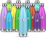 KollyKolla Bottiglia Acqua in Acciaio Inox, 500ml Senza BPA Borraccia Termica, Isolamento ...