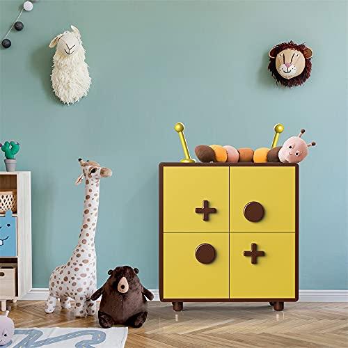 SITAKE - Estantería para juguetes moderna y bonita para niños, armario de almacenamiento de madera de 3 capas para baño, oficina, cocina, entrada, barra, sala de estar, mesita de noche (amarillo)