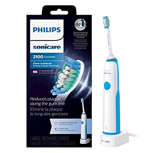 Philips Sonicare DailyClean 2100 rechargeable Electric Toothbrush (HX321117), Mid Blue, 1 Count