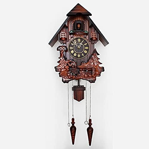 ZHJIUXING ST Reloj de Cuco de Madera de la Selva Negra, con Mecanismo de Cuarzo a Pilas y Llamada de Cuco, Roman Numerals, Plastic Plate
