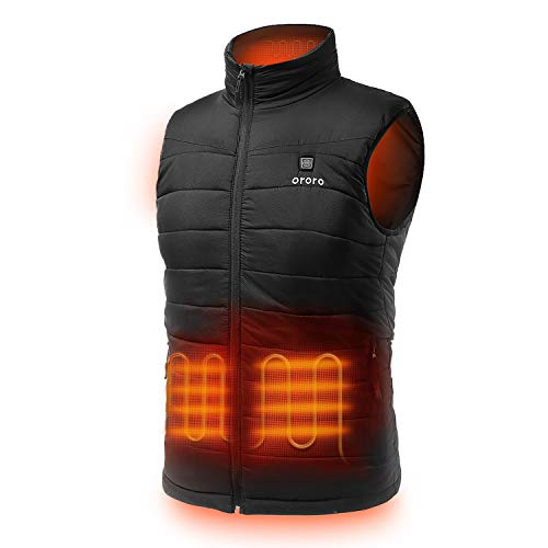 ORORO Men's Lightweight Heated Vest with Battery Pack (Medium, Black)