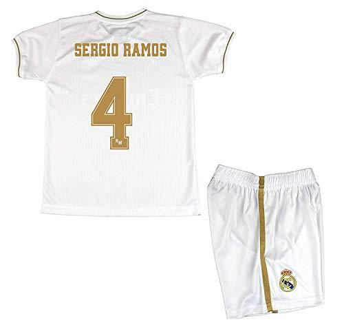 Real Madrid Satz T-Shirt und Hose Primera Third Kinder Sergio Ramos Neuware Offizielle Licensed Season 2019-2020 Farbe Weiß - Weiß, Talla14