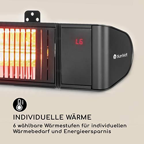 blumfeldt Gold Fever Smart • Infrarot-Heizstrahler • Terrassenheizstrahler • 2000 W • 6 Wärmestufen • Infrarot • Bluetooth • App-Control • bis 20 m² • inkl. Fernbedienung und Wandhalterung • schwarz - 8