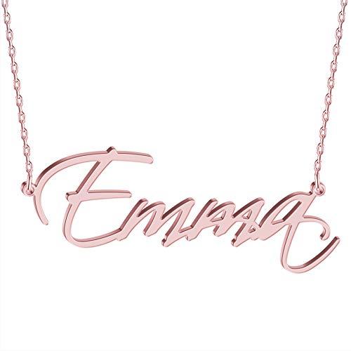 JOELLE JEWELRY Collar Personalizado - Collar Letra Personalizado Plata Chapado Oro Rosa de Ley - Collares Mujer Hombre