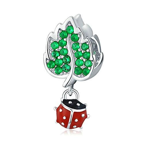 HMMJ Chims Beads, S925 Sterling Silver Spring Ladybug DIY Hecho a Mano de Hojas Verde Silvestre Pendiente Compatible con Pandora Troll Chamilia Charm Pulsera Europea Collares