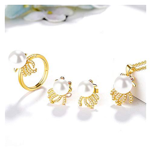 ZCPCS Juego de joyería de Perlas Americana Female Zircon Anillo Zircon Colgante Pendientes Pendientes 18K (Color : C)