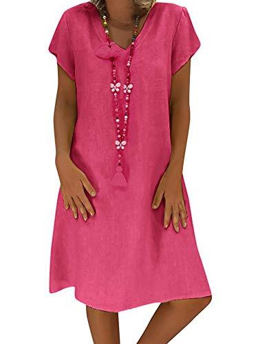 Onsoyours Damen Leinenkleid für den Sommer V-Ausschnitt Strandkleid im Boho Look B Rosa DE 46