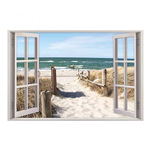 nikima Schönes für Kinder 156 Wandtattoo Fenster - Weg zum Ostseestrand - in 5 Größen - Sand Meer Wandbild Wanddeko Maritim - Größe 1000 x 670 mm