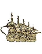 طقم دلال قهوه نحاس رسلان، 5 قطعة