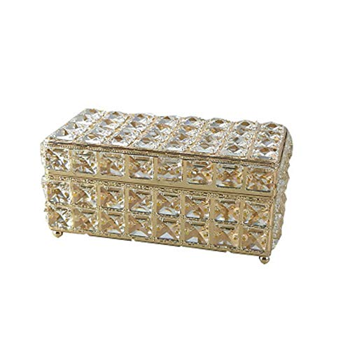 """Jkhome Jewelry Crystal Keepsake Box OrganizerRing Holder for Display Cosmetic Storage Decoration Gift Container (Gold, 9.06"""" X 4.33"""" X 5.12"""")"""