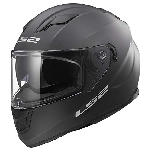 LS2 Stream Solid Full Face Motorcycle Helmet With Sunshield (Matte Titanium, XX-Large)