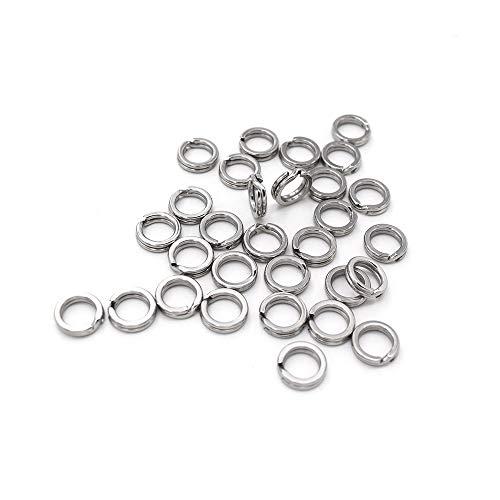 Heavy Duty Stainless Steel Split Rings Double Fishing Lure Rings,6 Sizes 5.2-10.3mm Split Rings,40-200LB (Size 6.5mm 100pcs)
