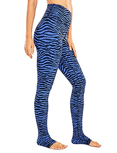 CRZ YOGA Mujer Pantalones Deportivos Leggings Yoga de Alta Cintura Extra Largo Leggins con Bolsillo -76cm Rayas de Cebra moradas y Azules Brillantes 36