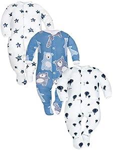 Sibinulo Nino Nina Pijama Bebé Pelele de Algodón Pack de 3 Globos Estrellas Osos de Peluche Azul Marino 68(3-6 Meses)