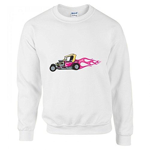 Pullover - Cooler Buggy Baggy Mit Pinken Flammen America Amy Usa Auto Car Breitbau V8 V12 Motor Felge Tuning Mustang Cobra - Sweatshirt Für Herren - Damen und Kinder