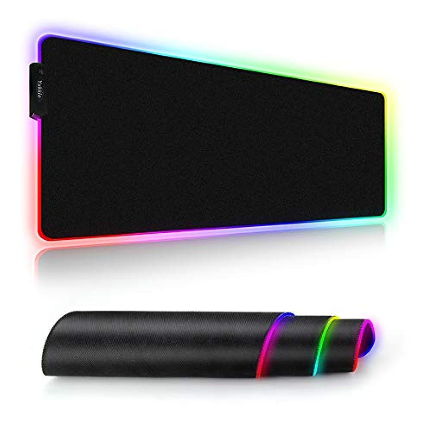 克服する収まる甘やかすマウスパッド 超大型ゲーミングマウスパッド 9モード 7色の発光色 カラフル回転 滑り止め USBケーブル 撥水加工 ゲーマー向け 785mm x 305mm x 4mm 12ヶ月安心保証