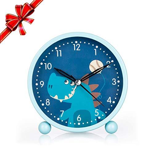 KOROTUS COLLECTION Dinosaurier Wecker, stille Uhr mit Nachtlicht und lautem Wecker, einfach einzustellen und batteriebetrieben, süße Ding Ding Uhr dekorativ für Jungen, Studenten Schlafzimmer-Blau