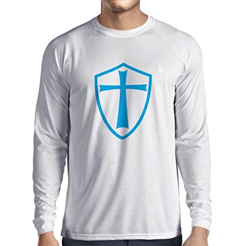 Camiseta de Manga Larga para Hombre Caballeros Templarios - Escudo de los Templarios (Medium Blanco Azul)