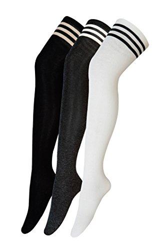 Urban GoCo Calcetines Hasta la Rodilla Algodón Medias Mujer Rayure Piernas Calientes-Conjunto de 3 pares (Modelo A)