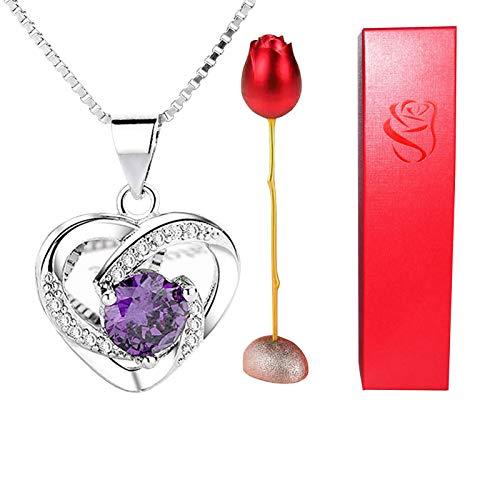 XPT Collar de mujer elegante romántico en forma de corazón colgante de corazón para el día de San Valentín regalo de boda púrpura
