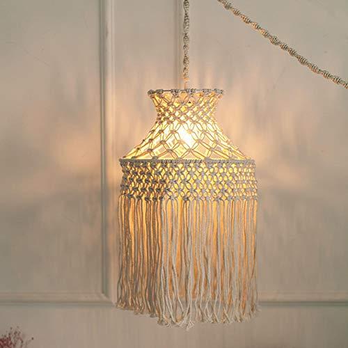 NIEUWE lampenkap plafond macrame, handgeweven katoenen touw witte Boheemse hangende lampenkappen voor plafondverlichting, slaapkamer, woonkamer, bruiloft decoratie (exclusief lampen)