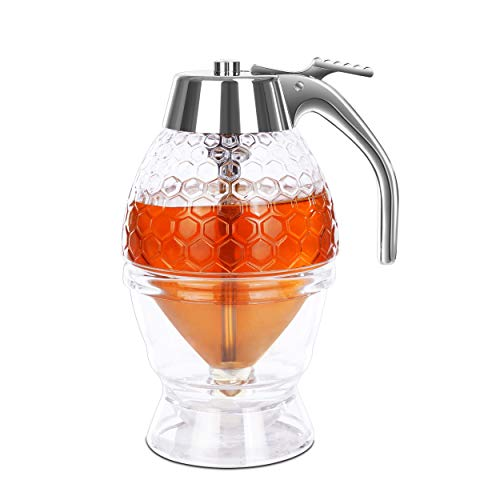 DESIOLE Honey Dispenser with Stand, Great Syrup Jar with High Capacity, Beautiful Honey Pot