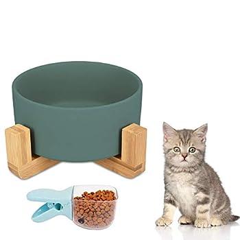 Shengruili Pet Gamelles pour Chien et Chat,Gamelles Céramique avec Support en Bois Design,Gamelle avec Support pour Chien,Gamelle pour Chien en Hauteur,Gamelles avec Support,Gamelle Chat Chien (Blue)