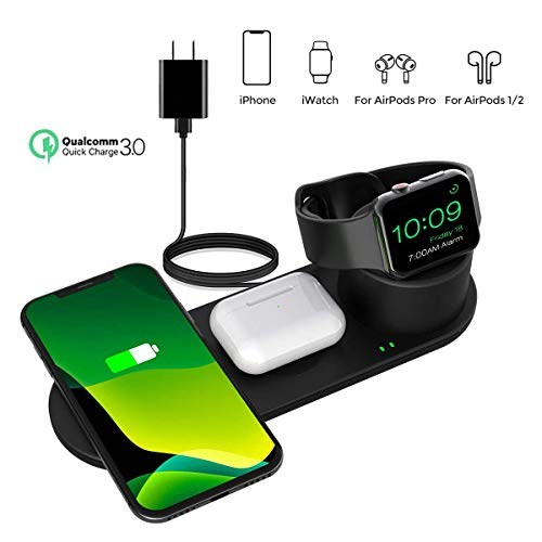 Aresh 3 in 1 Wireless Charging Station Compatible with Apple Watch Charger, Airpod/Airpods Pro iPhone SE 2020 11/11 Pro Max X XS XR 8 Wireless Charging Pad Wireless Charger 3 in 1 Stand(QC3.0 Adapter)